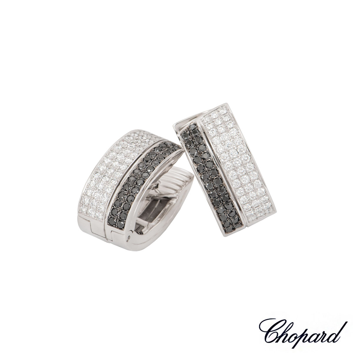 Chopard White Gold Diamond Set Hoop Earrings 844073-1001